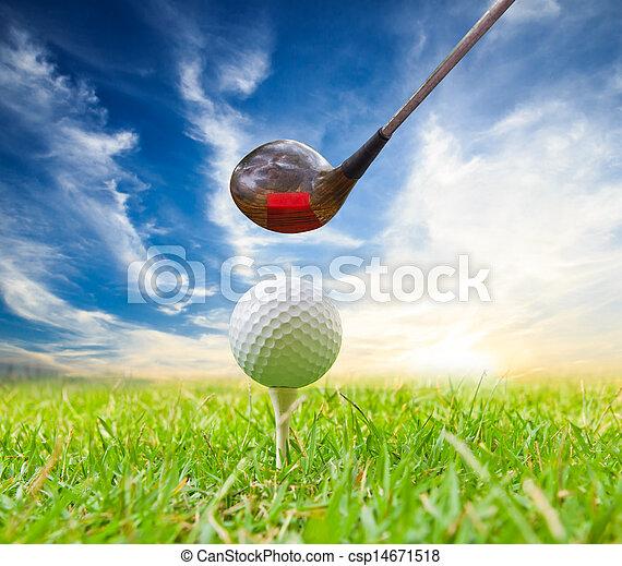 driver hit golf ball on tee - csp14671518