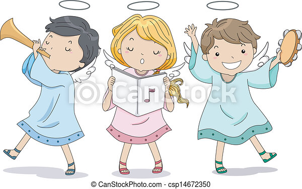 Illustration of Cute Boy and Girl Angels Praising with Music