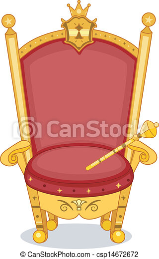 Vectors illustration of royal chair illustration of shiny red and gold royal chair