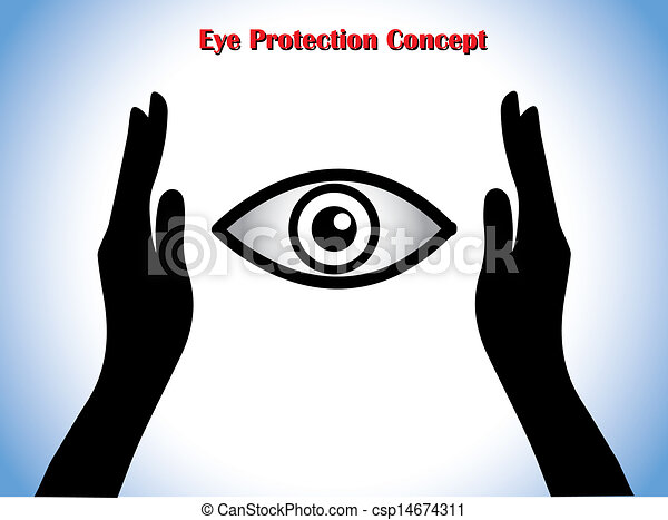 Clipart of Eye Protection or Eye Doctor Concept Illustration using ...