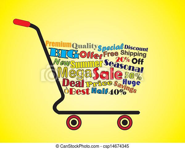 Summer Sale Shopping Cart Concept - csp14674345