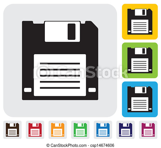 ... floppy disk icon on grey, green, orange and blue backgrounds & useful