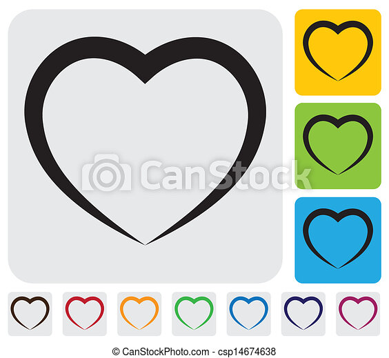abstract human heart(love) icon(symbol)- simple vector graphic - csp14674638