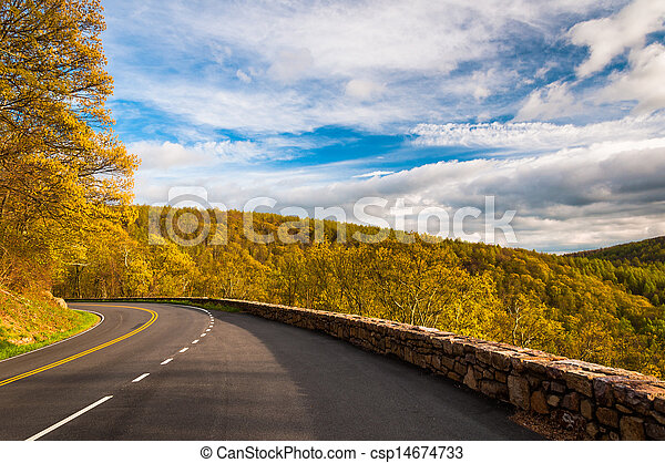 Spring evening on Skyline Drive in Shenandoah National Park, Virginia. - csp14674733