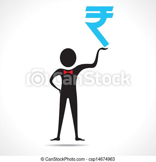 Clip Art Vector of Man holding rupee symbol vector csp14674963 ...