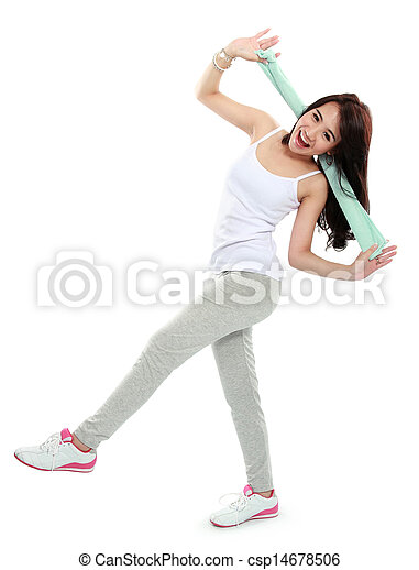 happy young asian woman doing exercise - csp14678506