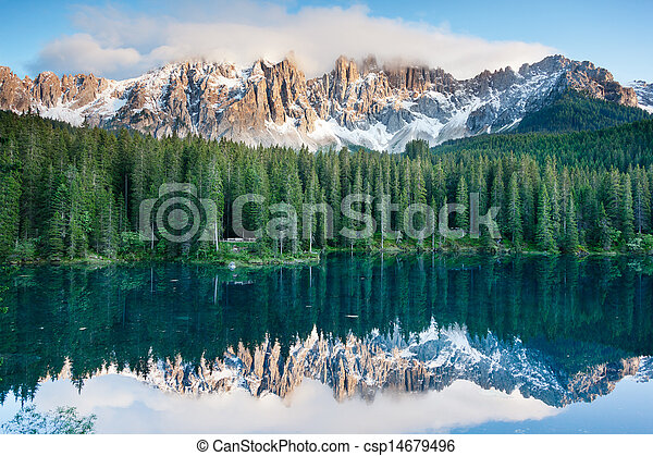 Karersee, lake in the Dolomites in South Tyrol, Italy. - csp14679496