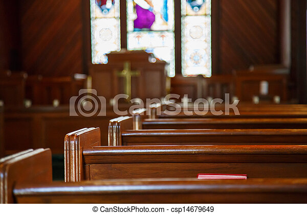 沾污, 座位, 玻璃, 講壇, 教堂, 超過 - csp14679649