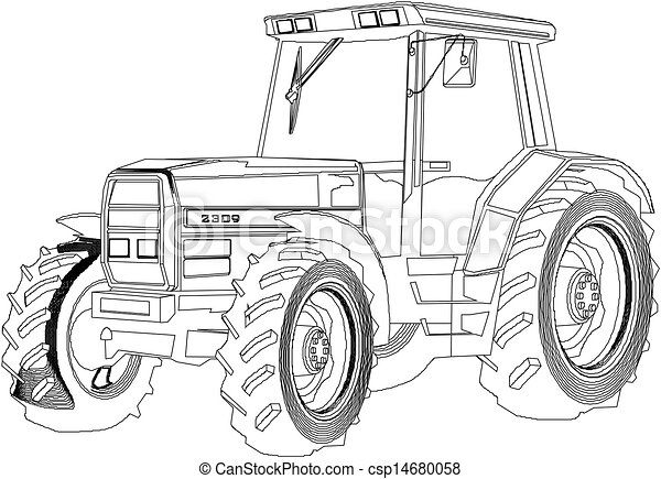 Clipart Vektor Av Vektor Teckning Traktor Csp14680058