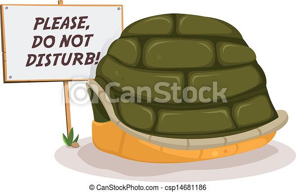 Vector of Do Not Disturb Turtle Sleeping - Illustration of ...