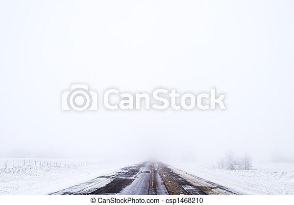 Prairie Road in Fog - csp1468210