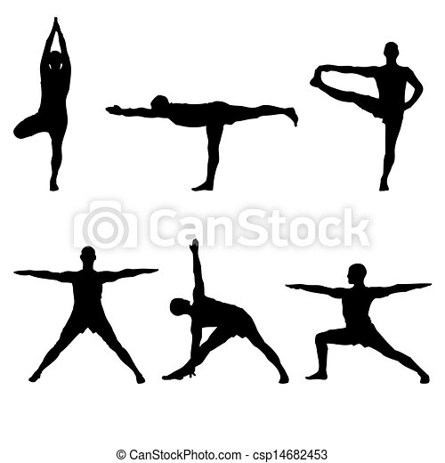 stock illustrations of six yoga standing poses  a batch