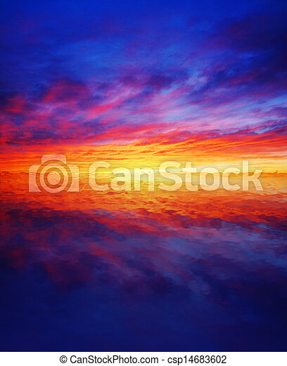 Beautiful sunset over water - csp14683602