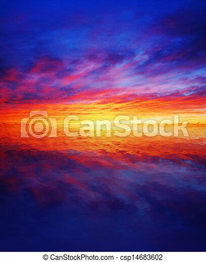 Beautiful sunset over water - csp14683602