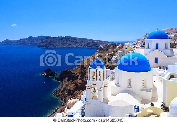 Blue Dome Churches Oia Santorini - csp14685045
