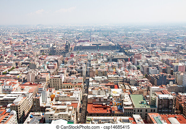 Aerial view of Mexico City and the Zocalo - csp14685415