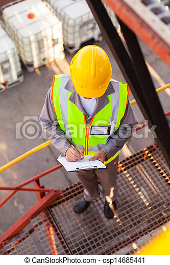oil chemical worker working in refinery plant - csp14685441