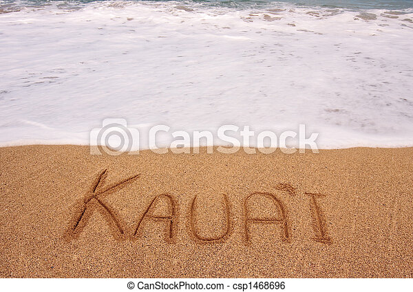 The word Kauai written into the sand in front of surging tide - csp1468696