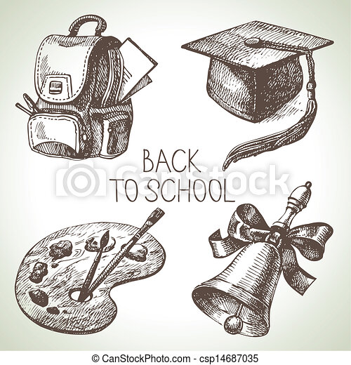 Hand drawn vector school object set. Back to school illustrations - csp14687035