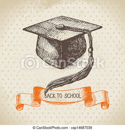 Vintage vector background with hand drawn back to school illustration  - csp14687039