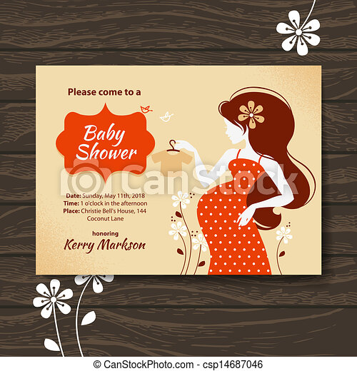 Vintage baby shower invitation with beautiful pregnant woman - csp14687046