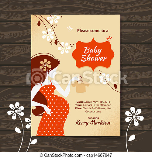 Vintage baby shower invitation with beautiful pregnant woman - csp14687047