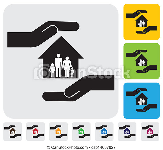 Hand protecting family & house(home)- simple vector graphic - csp14687827