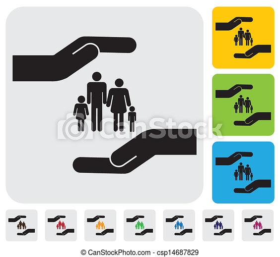 Hand protecting family(parents and children)- simple vector graphic. This illustration represents concept of safety of father, mother, son & daughter, family health insurance, personal insurance, etc - csp14687829