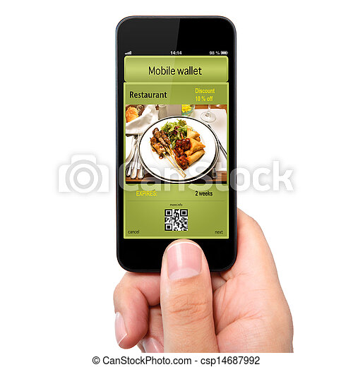 isolated man hand holding the phone touch with a mobile wallet and ticket discount in restaurant - csp14687992