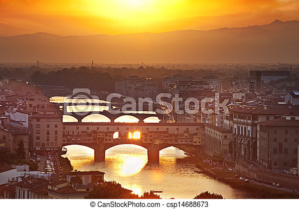 Bridges of Florence at sunset, Italy - csp14688673