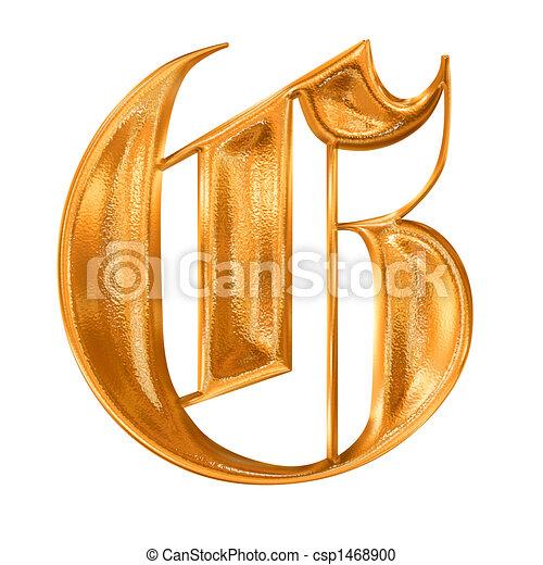 arany-, motívum, gót, levél, g betű - csp1468900