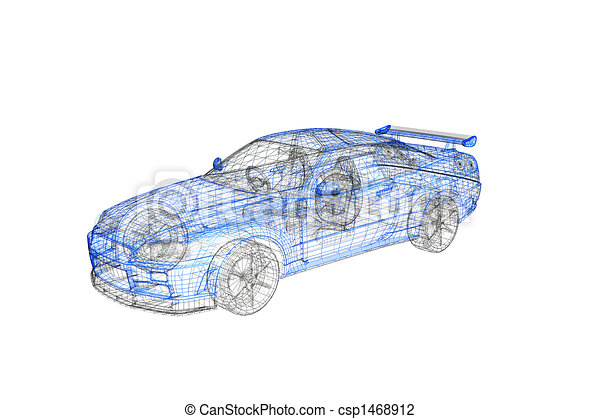 3d concept model of modern car project - csp1468912