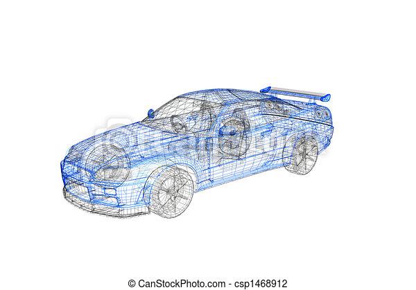 3d concept model of modern car project - csp1468912