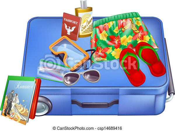 Vector Clip Art of Suitcase and vacation items - An ... Packing Luggage Clipart