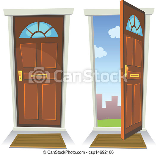 Vector Clipart Of Cartoon Red Door Open And Closed