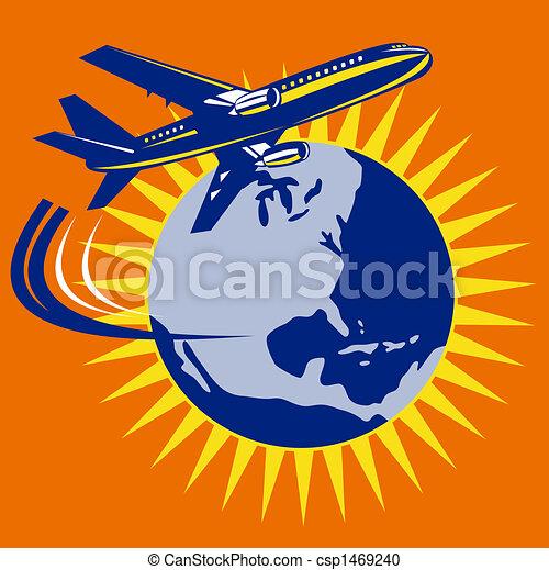 Jumbo jet plane around the globe - csp1469240