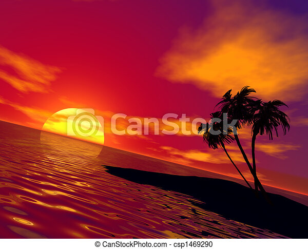 Tropical Island Sunset Clipart Tropical Island And Sunset