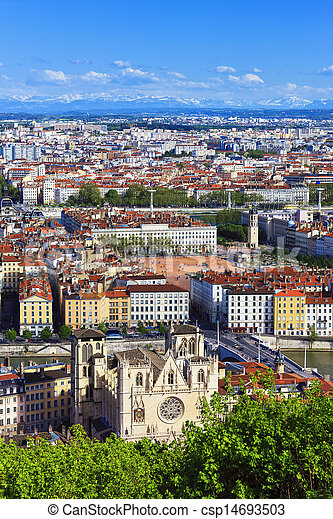 Aerial view of Lyon city - csp14693503