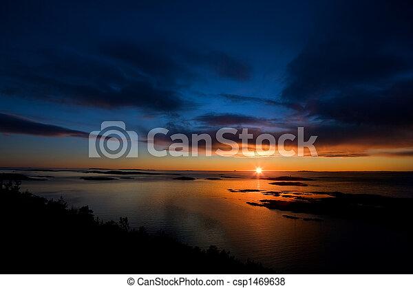 Dramatic Sunset on Ocean - csp1469638