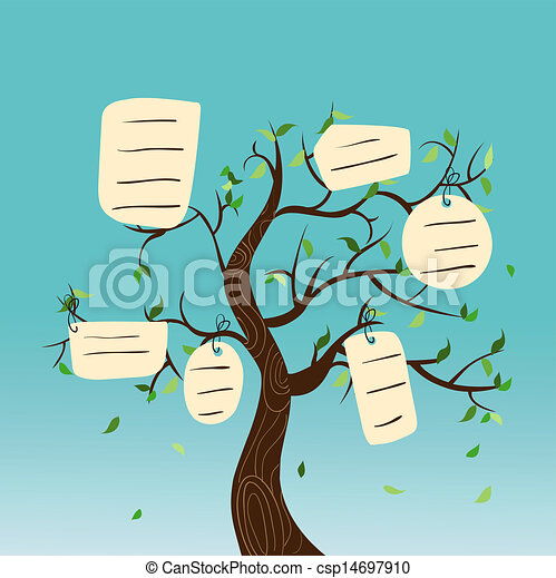 Vector Clip Art of Hang tag family tree - Family concept tree with ...