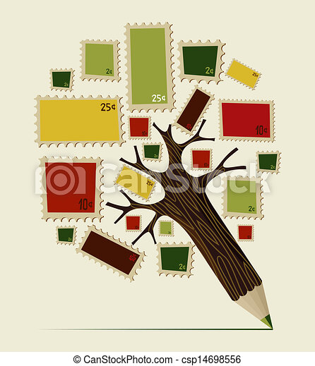 Stamp icon pencil tree concept - csp14698556