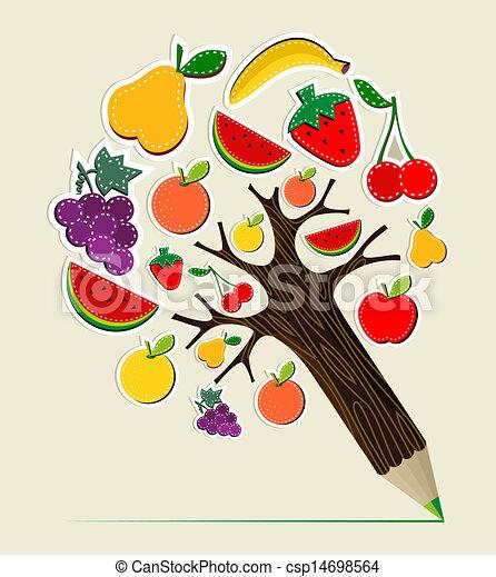 Eat Healthy Food Drawing Healthy Food Concept Pencil