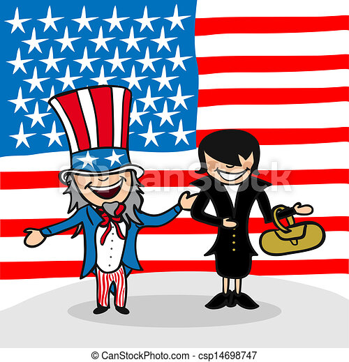 EPS Vector of Welcome to USA people - American man and woman cartoon ...