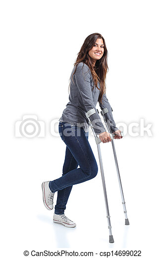 Woman walking with crutches - csp14699022
