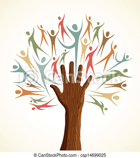 Family human shapes colorful hand conceptual tree. Vector file layered ...