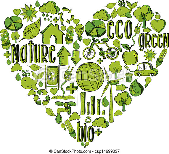 Vectors Of Green Heart With Environmental Icons Trendy