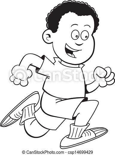 Black and white illustration of an African boy running. Run Clip Art Black And White