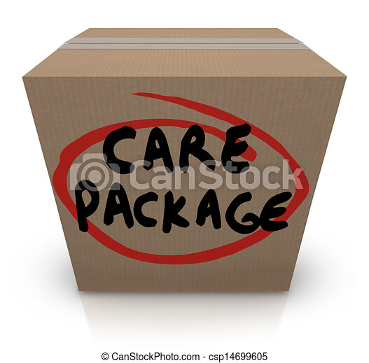 Care Package Cardboard Box Words Support Emergency Aid - csp14699605