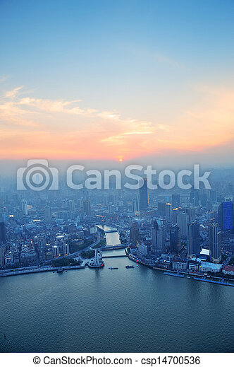 Shanghai aerial at sunset - csp14700536