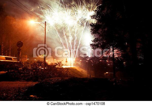 Rural Fireworks - csp1470108
